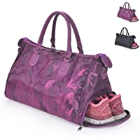 Gym Sports Bag with Shoe Compartment, Training Bag Waterproof Travel Bag Handbag Shoulder Bag for Men and Women 2 Ways to Carry,Purple,L