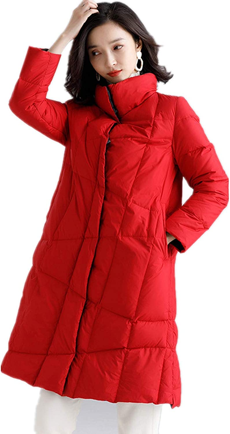 Susichou Autumn and Winter Women's Fashion, Light and Thin, Down Jacket, Long Section, Hooded, White Duck Down, Jacket Red