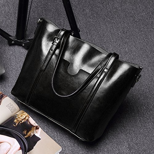 93c3b7fb14e34 YALUXE Women s Vintage Style Soft Leather Work Tote Large Shoulder ...