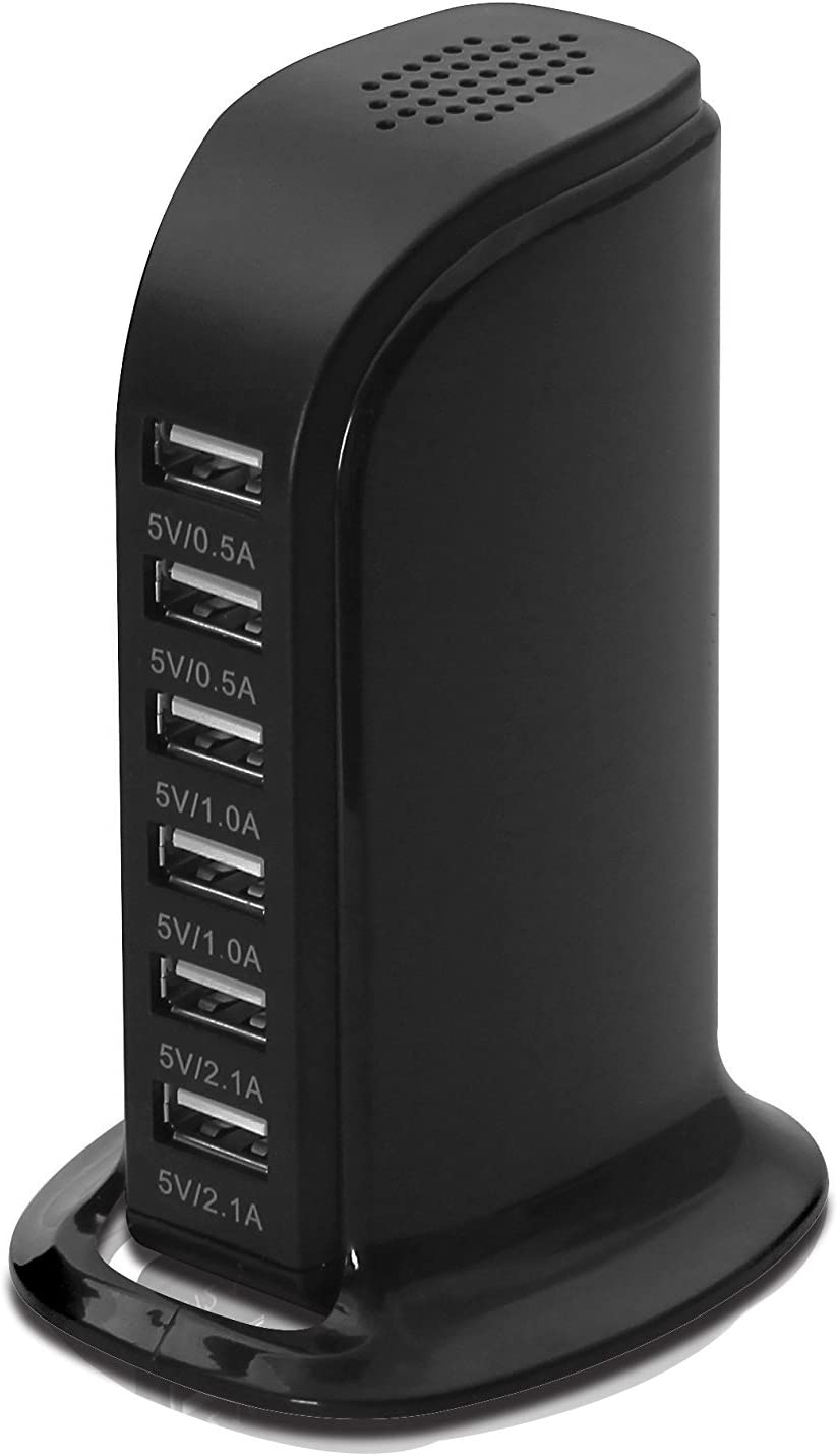 LYILIN 30W 6-Port USB Charger Desktop Charging Station with Smart Identification Technology for iPhone iPad, Android and Virtually All Other USB Enabled Devices (Black)