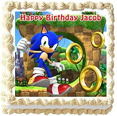 Amazon Com Sonic The Hedgehog Birthday Edible Image Cake Topper Decoration 7 5 Square Kitchen Dining