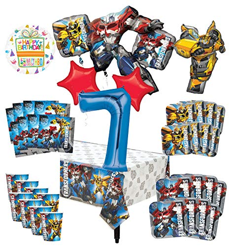 Transformers 7th Birthday Party Supplies 8 Guest Decoration Kit and Balloon Bouquet - (9 Transformers Cups Ounce)
