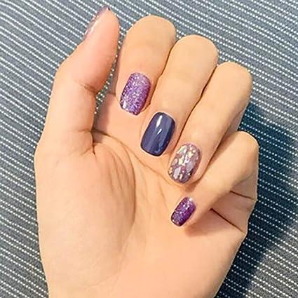 Drecode - Juego de 24 uñas postizas de acrílico con purpurina para ...