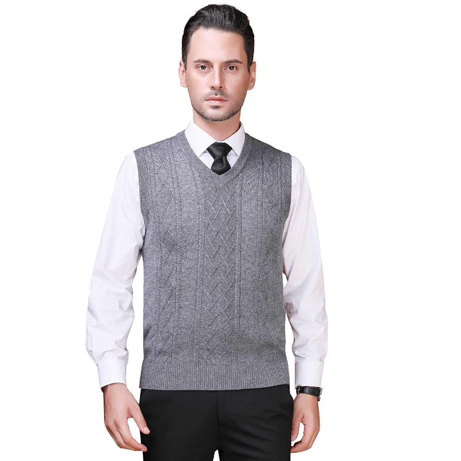 Men's Vintage Vests, Sweater Vests Zicac Mens V-Neck Sleeveless Vest Classic Britsh Style Business Gentleman Knitwear Knitted Waistcoat Sweater Cardigans Tank Tops Gilet  AT vintagedancer.com