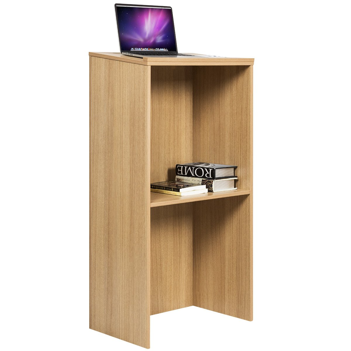 Tangkula Lectern Floor Standing Wood with Shelf Pencil Slot Stand Up Desk Podium (Natural Wood)