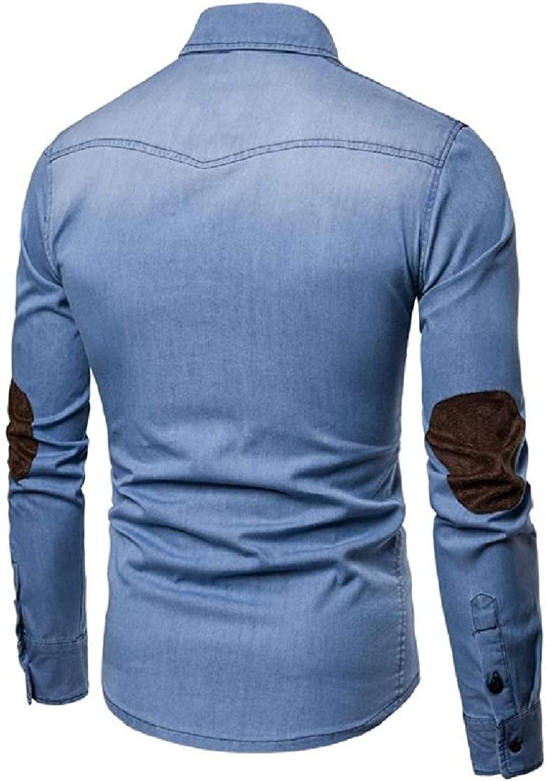 Etecredpow Men Casual Elbow Patch Washed Long Sleeve Denim Button Up Shirts