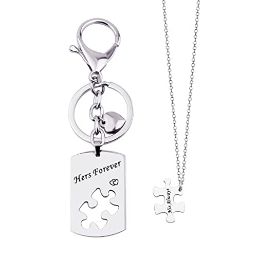 68c701574e KUIYAI His Always Hers Forever Puzzle Piece Necklaces Keychain Set for  Couples (Dog tag Puzzle