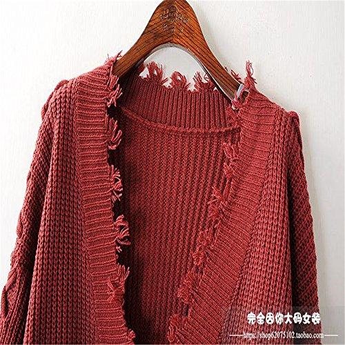mode col de women's de tricot crossover premier de Rouge Pull l'automne brique robes ensemble sangle et Le l'hiver de la V xna7Bqnw