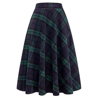 Oversize Nipped Waist Fl Woolen Skirt