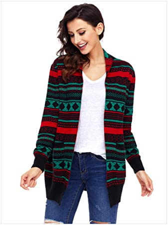 2017 trendy womens ugly christmas sweaters knitted sweater cardigan plus size black s