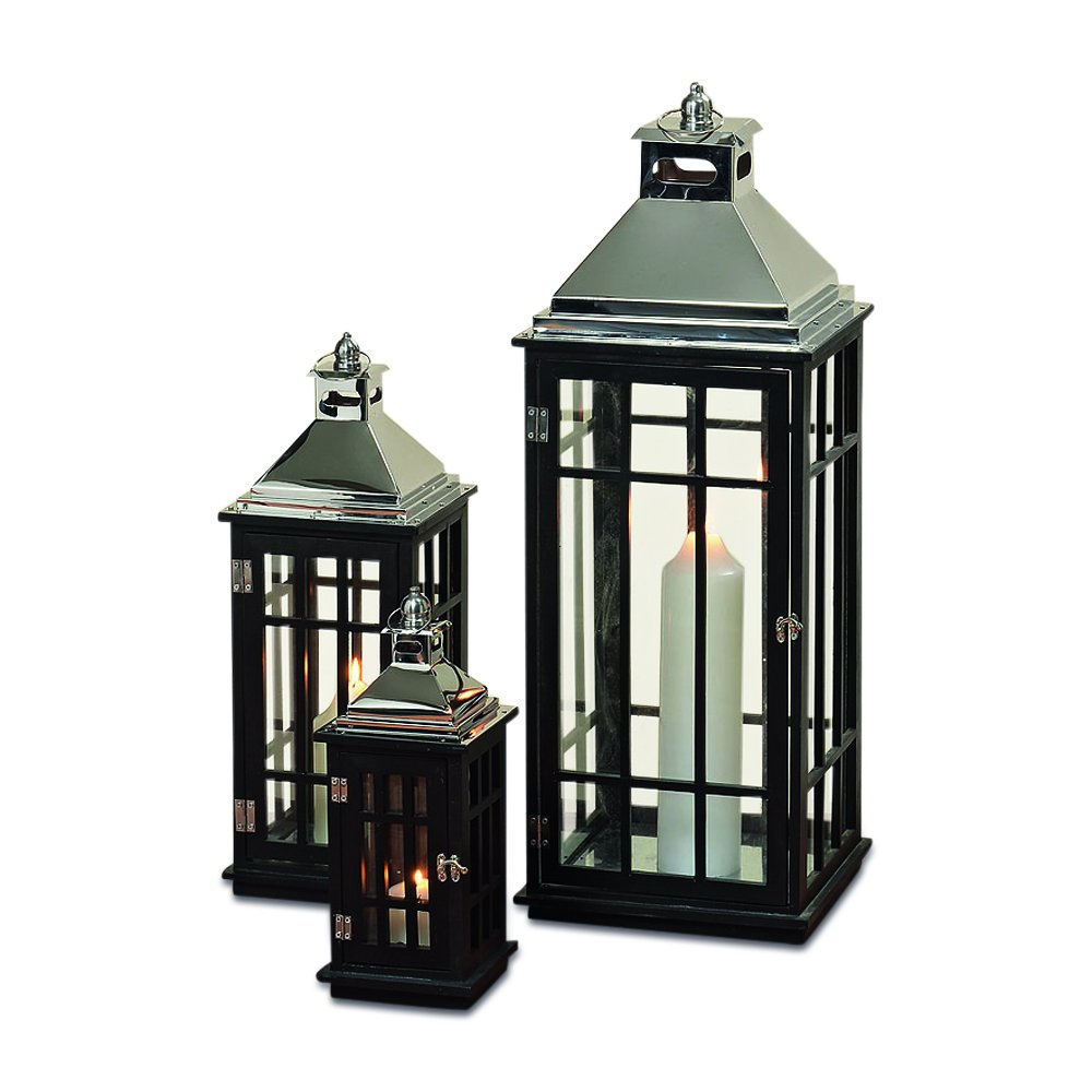 The Urban Garden Tall Hurricane Lanterns, Set of 3, Modern Architectural Style, Brilliant Glass, Pine Wood, Polished Metal, 34 1/4, 23 1/2, and 16 1/4 Inches High, By Whole House Worlds by Whole House Worlds