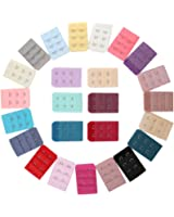 Ailiebhaus 25 Pieces Women Bra Extender Elastic Bra Hook Extension Strap 3 Rows 2 hooks, Assorted Colors