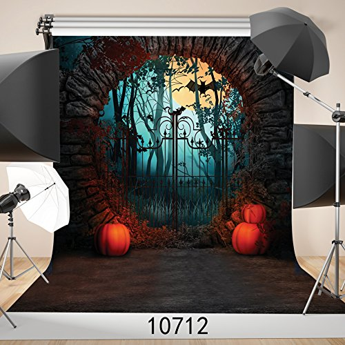 WOLADA Halloween Night Photography Backdrop 10x10ft Spooky Door Bat Pumpkin Lights Backdrop for Photo Background Studio 10712]()