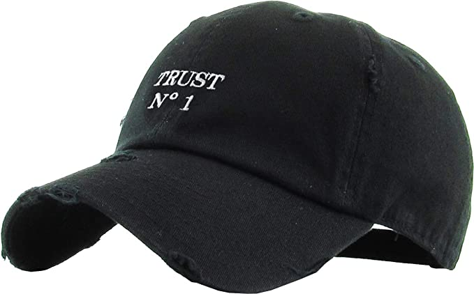 33975787610 KBSV-055 BLK Trust No1 Vintage Distressed Dad Hat Baseball Cap Polo Style
