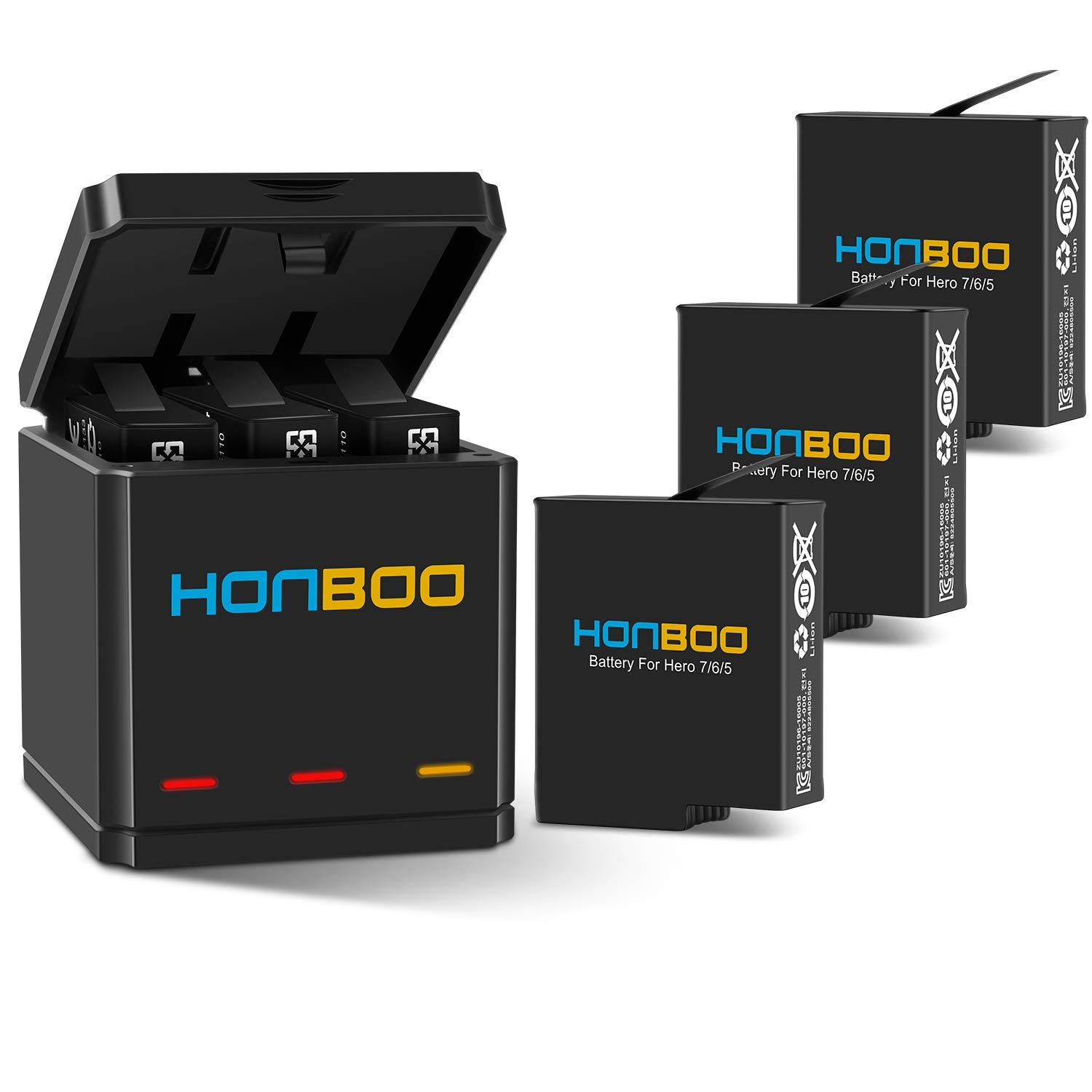 HONBOO Batteries (3-Pack) and Triple Charger for GoPro Hero 7/6/5 Black,Rechargeable Battery Accessories for GoPro Camera