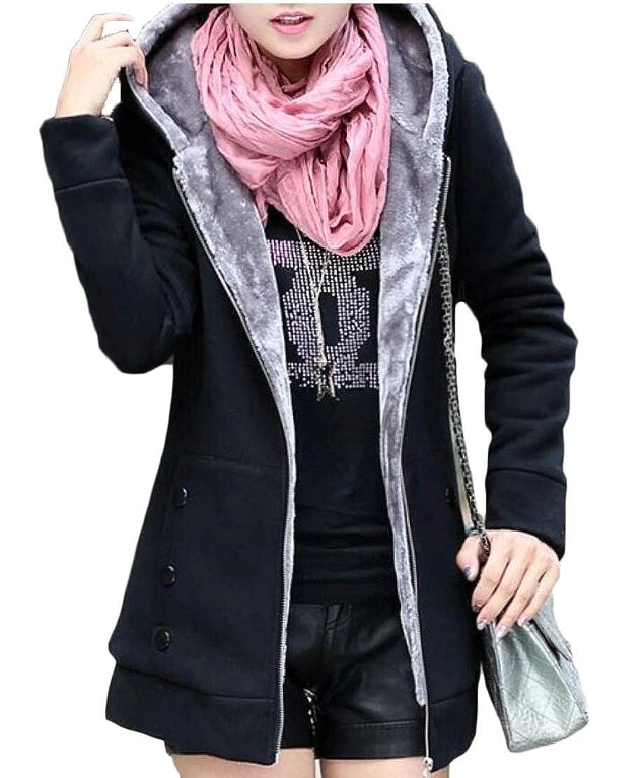 WSPLYSPJY Womens Winter Warm Sherpa Lined Zip Up Hooded Sweatshirt Jacket Coat