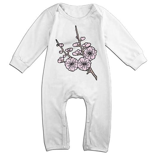 49dcedbf6b3c Amazon.com  Baby Boy Bodysuits Cherry Blossom Clipart-1 Infant Long ...