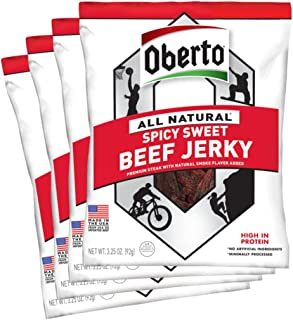 product image for Oberto All-Natural Beef Jerky, Spicy Sweet, 3.25 Ounce (Pack of 4)