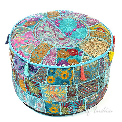 NANDNANDINI - Beautiful HANDMADE Sky Blue Christmas Decorative Bohemian Ottoman Patchwork Ottoman Indian Embroidered Indian Vintage Cotton Round Pouf Foot Stool , Vintage Ottoman Bohemian Decor