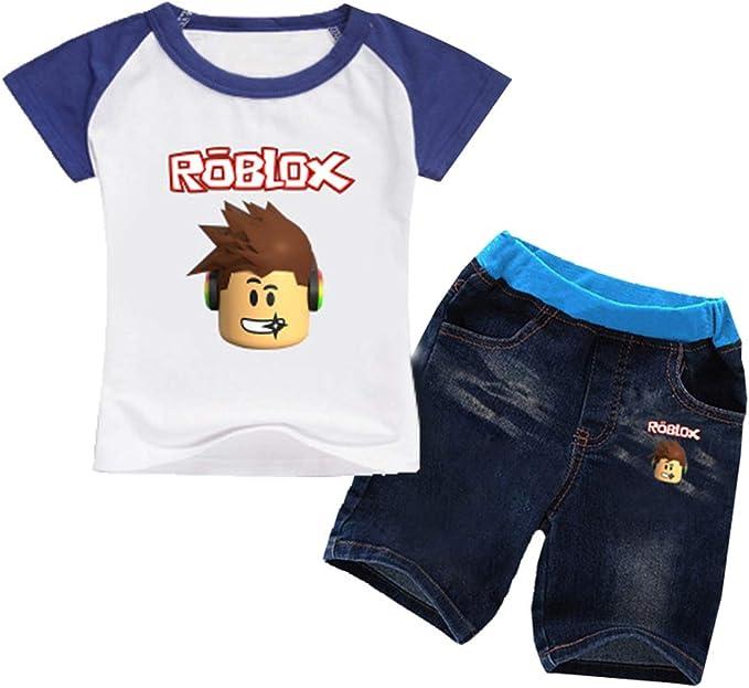 Roblox Pullover Klassische Kinderbekleidung Karikatur Muster Druck Rundhals Kurzarm T-Shirt Shorts Junge und M/ädchen