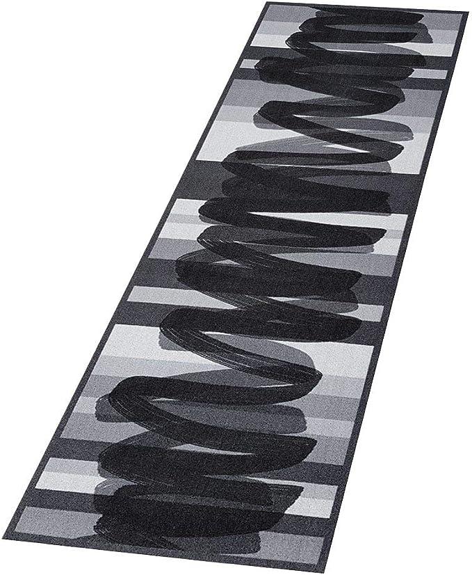 50 x 150 cm Tappeto da Cucina Boss Lines Brush Stroke Grigio Lavabile Antiscivolo
