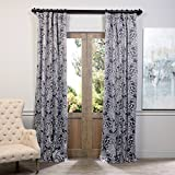 Best Home Back Tab Curtains - BOCH-KC103B-96 Blackout Curtain, Flora Grey Review