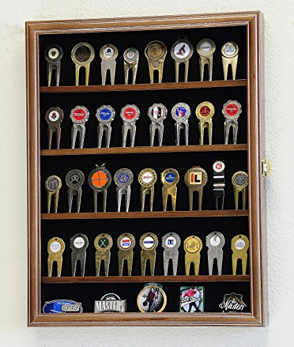 sfDisplay.com,LLC. Golf Ball Divot Tool Markers Coin Chips Medallion Display Case Cabinet Holder (Walnut Finish)