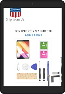 Digitizer Screen Replacement for iPad 2017 iPad 5 Gen 9.7 Inch A1822 A1823 Touch Screen Glass Panel with Home Button Repair Parts for iPad5 Touchscreen Free Tools Kits (Black with Home Button)