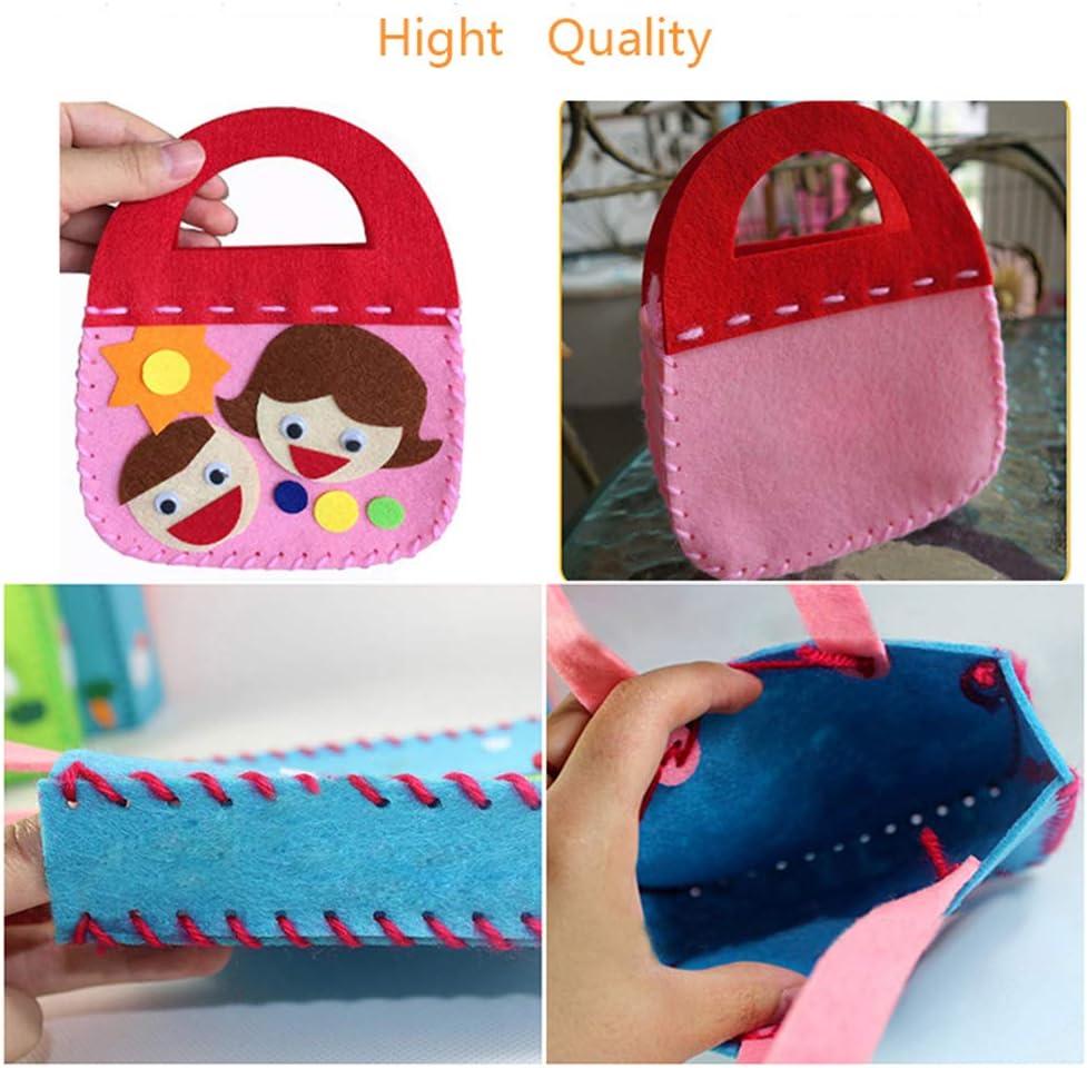 Xiangmall 6 Pack Children Sewing Kit Felt Craft Kits Kids Fabric DIY Crafts Handbag for Beginners Multicolor