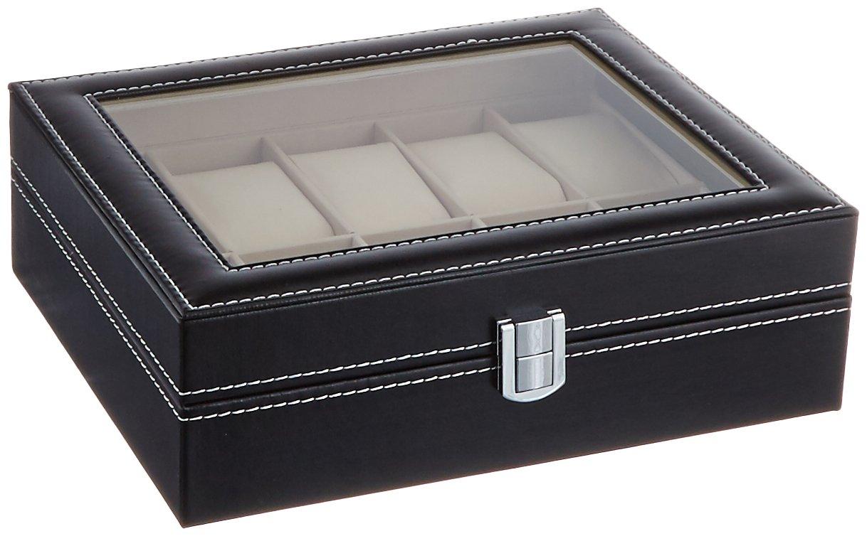PU Leather 10 Grid Watch Display Box Jewelry Storage Organizer, Black - SciencePurchase