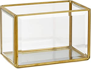 Serene Spaces Living Beveled Glass Gold Box with Mirror Bottom, Glass Candle Box for Wedding Centerpieces, Party, Christmas, Thanksgiving Dinner, Holiday Decor, Measures 4