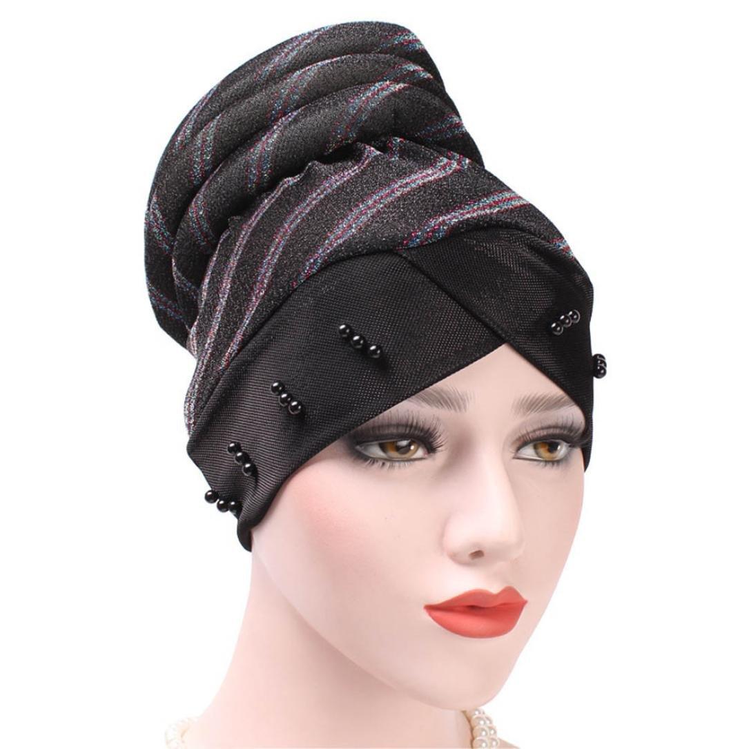 Kingko_ Women's Casual Pearl Muslim Stripe Ruffle Stretch Turban Hat Chemo Cap Hair Loss Head Scarf Wrap Hijab Cap One Size Adjustable