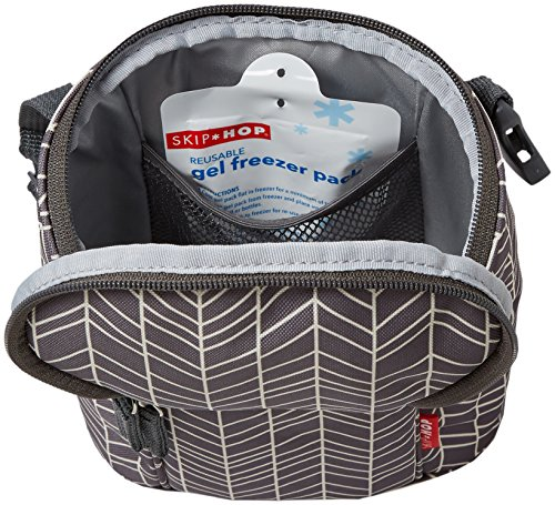 Skip Hop Insulated Breastmilk Cooler And Baby Bottle Bag, Grab & Go Double, Grey Feather by Skip Hop (Image #4)