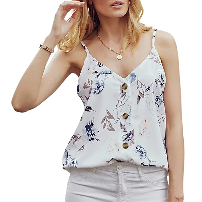 Women Sleeveless V Neck Button Floral Print Tank Top Loose Shirts Blouse Sunwear
