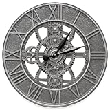Whitehall Products 21-Inch Gear Indoor/Outdoor Wall Clock in Pewter Silver
