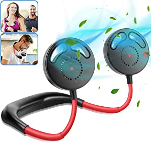 UPGRADE Hanging Neck Fan - Hand Free Portable Neckband Sports Fans without Fan Blades USB Rechargeable Personal Wearable Fan Premium Headphone Design for Office Outdoor Travel