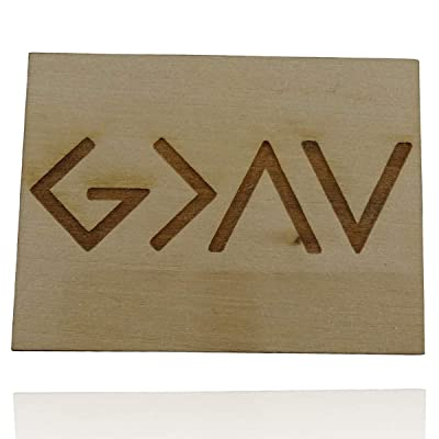 God is Greater Than the Highs and Lows Symbols Refrigerator Magnet, Engraved Wood 2
