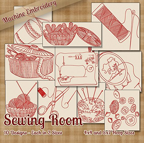 Sewing Room Redwork Embroidery Machine Designs on CD - 10 Beautiful Outline Style Patterns - 2 Sizes Each - Multiformat CD