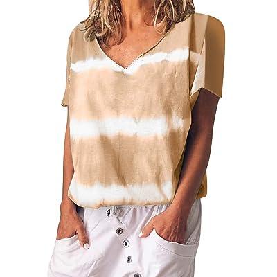 👚👚👚Mujeres Imprimir Rayas Florales Camiseta De Manga Corta NiñAs Tallas Grandes Blusa Tops-Tops Camisas Sueltas De Mujer Elegante-Camisa Desigual: Ropa y accesorios