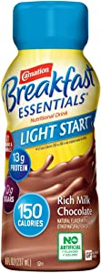 Carnation Breakfast Essentials Light Start Ready-to-Drink, Rich Milk Chocolate, 8 Ounce Bottle (Pack of 24) (Packaging May Vary)