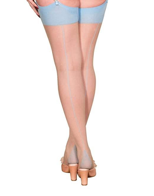 What Katie Did Seamed Stockings Contrast Blue Glamour