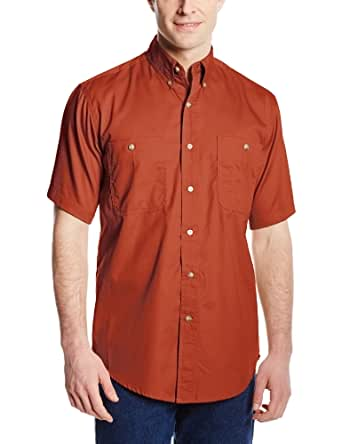 Wrangler Men's Rugged Wear Wrinkle Resist Solid Shirt, Brick, Medium
