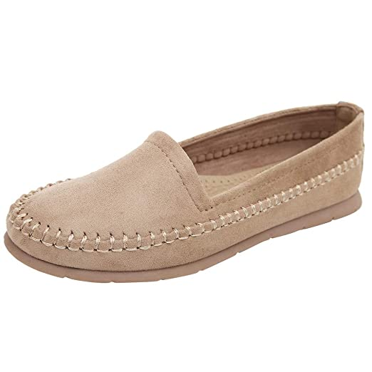 05a95e180b1 AliveGOT Women s Faux Suede Loafers Casual Round Toe Moccasins Wild Flats  Shoes (Beige