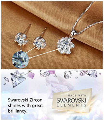 Snowflake Pendant Necklace Swarovski Zircon Jewelry for Women Girls Ideal Christmas Gifts Birthday Gifts for Daughter Granddaughter Girlfriend Mother Wife Best Friend Gifts (Necklace and Studs set) by sassu fine (Image #4)