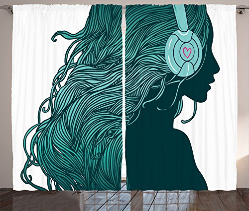 Ambesonne Music Decor Collection, DJ Girl Profile With Long Hair In  Headphones Nightclub Silhouettes Party Picture, Living Room Bedroom Curtain  2 Panels Set ...