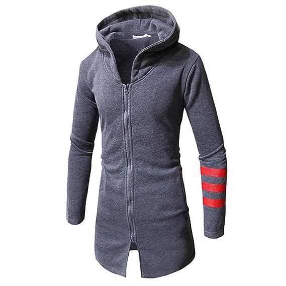 FRAUIT Herren Herbst Winter Kapuzenpullover Sweatshirt Stripe Zipper Langarm  Top Bluse Jacke Warm Pullover Jacke Sweatjacke Kapuzenjacke 100% Baumwolle   ... 54d4aea411