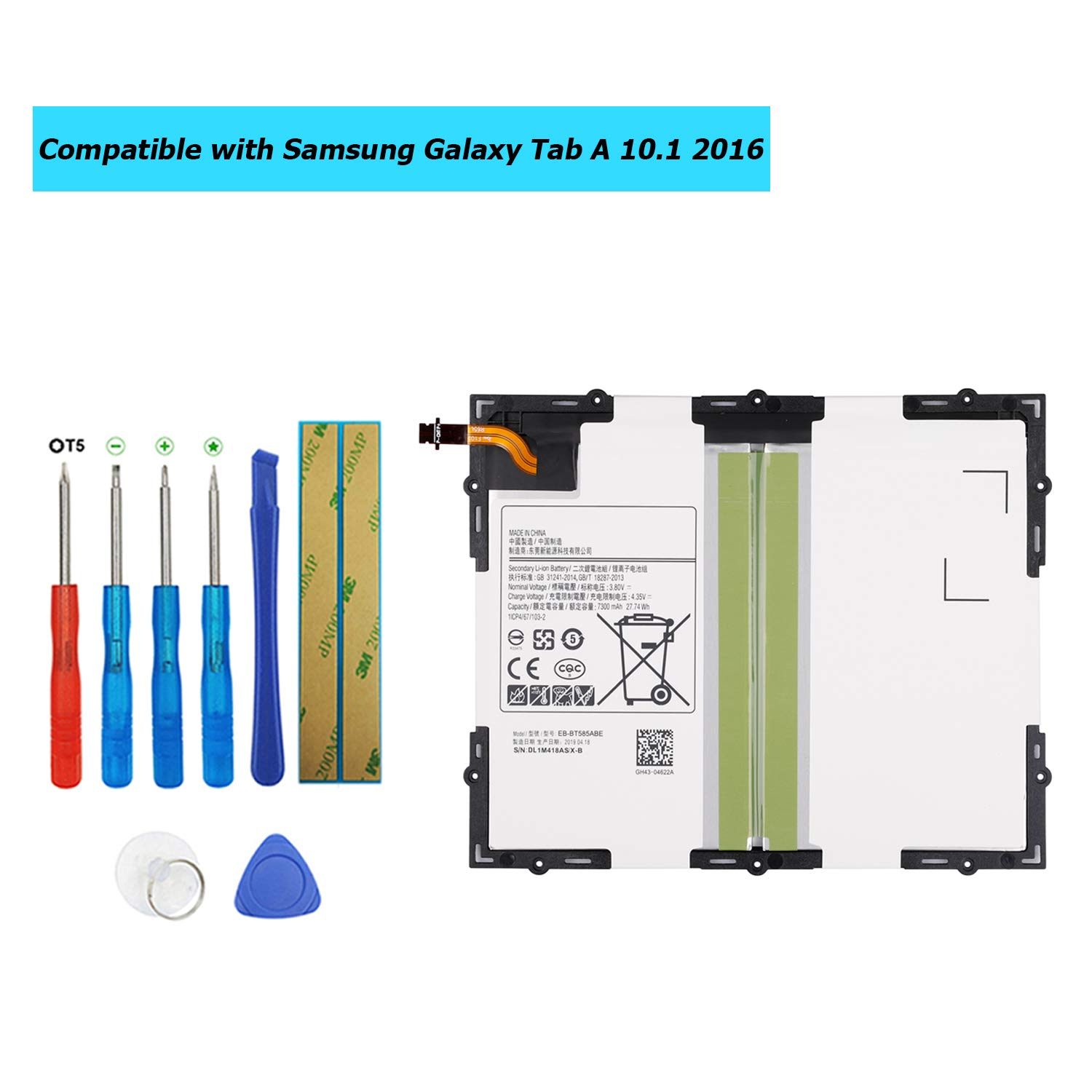 Upplus EB-BT585ABA EB-BT585ABE Replacement Battery Compatible with Samsung Galaxy Tab A 10.1 2016 TD-LTE,Galaxy Tab E 10.1,SM-P580,SM-T585,SM-T585C,SM-T580,SM-T587P with Toolkit