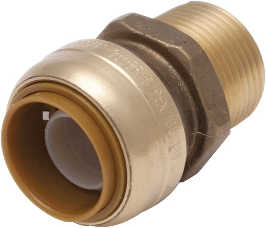 SharkBite U138LFA Inch Push-to-Connect X Mnpt Bullnose Male Connector, 3/4-Inch x 1/2-Inch