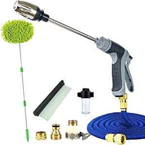UILB Car Wash Kit with 50ft Expandable Garden Hose, Bubble Gun,Metal High Pressure Gun, Microfiber Car Wash Mop, Car Water Scraper,All in One