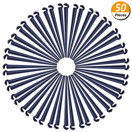 LONG7INES 50-Pack Irrigation Support Stakes, Adjustable Drip Emitters Water Flow Drippers Tubing Hose Holder For Herbs Garden, Lawn, Self Plant, Flower Beds, Vegetable Watering, Great For 4/7mm Tubes